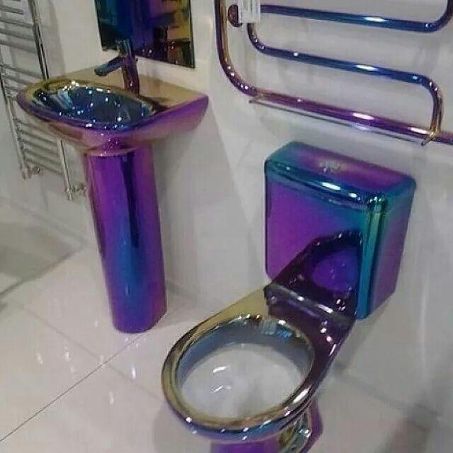 619 best toilets images on pinterest bathrooms bathroom for Purple toilet accessories