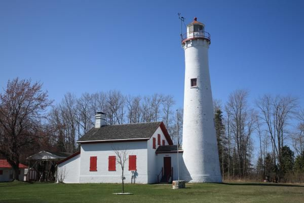 Fine Art Photography. Lighthouse and Keeper's House, Sturgeon Point, Michigan. On Lake Huron.