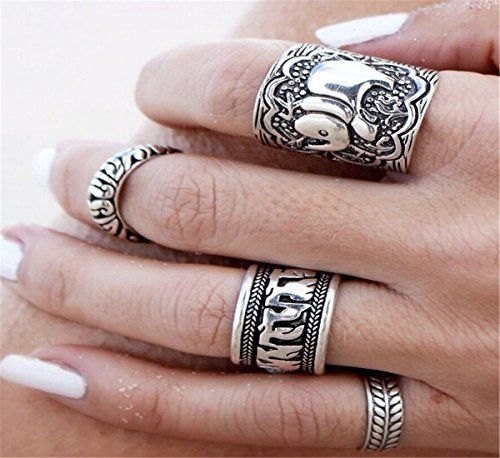 Sunscsc Vintage Retro Silver Elephant Joint Knuckle Nail Ring Set of 4 Rings:
