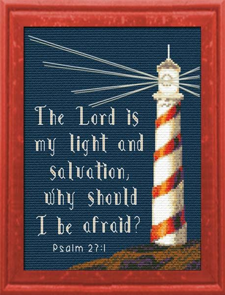 Cross Stitch Bible Verse Psalm 27:1, The Lord is my light and salvation why should I be afraid?