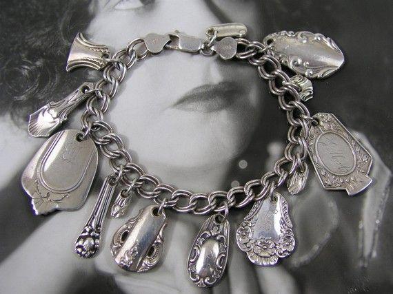 STERLING SILVERWARE CHARM Bracelet with vintage spoons