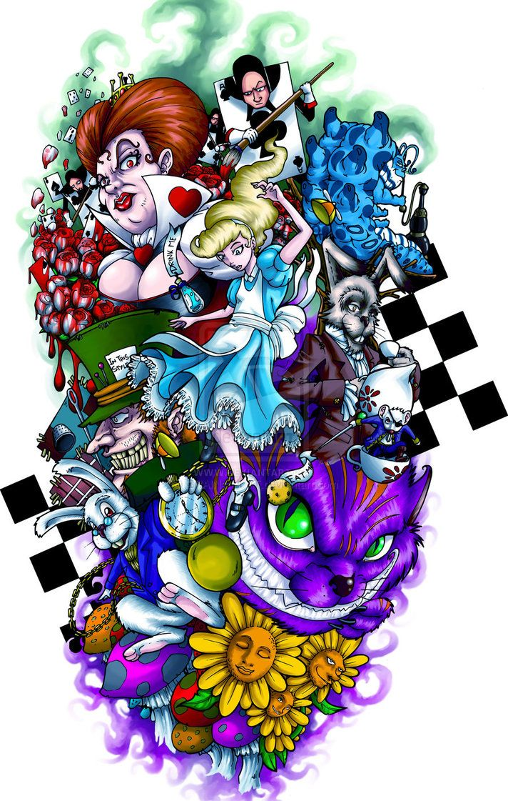 THIS IS HOW I WANT MY SLEVE!  http://th03.deviantart.net/fs71/PRE/i/2012/176/5/f/alice_in_wonderland_tattoo_by_brainandfat-d54uucp.jpg