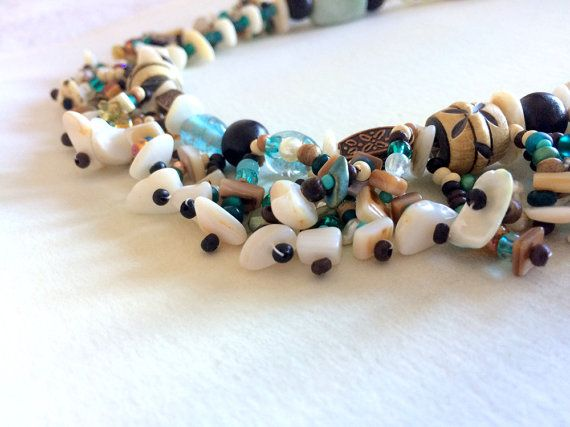 Natural Shell & Wood Boho Beaded Necklace by AriadnesCreations