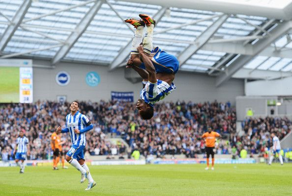 Kazenga LuaLua of Brighton & Hove Albion celebrates as he scores their second goal during the npower Championship match between Brighton & Hove Albion and Wolverhampton Wanderers at Amex Stadium on May 4, 2013 in Brighton, England.