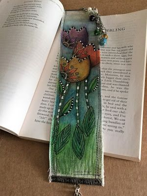 Bookmark out of fabric. Use Rubber Dance Stamps and Inktense pencils on fabric tutorial