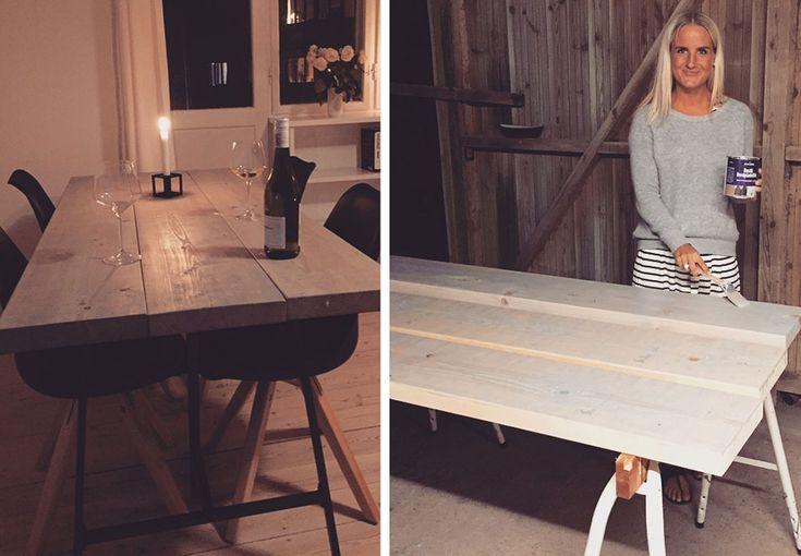 Lækkert og billigt bord. Tænker at man tilsvarende kan lave bænk ud fra samme metode