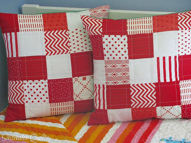 Red and White Patchwork Pillows by Saltwater Quilts. Craft BusinessBusiness IdeasSew ... & 17 best Quilt \u0026 Patch images on Pinterest | Quilting ideas Modern ... pillowsntoast.com