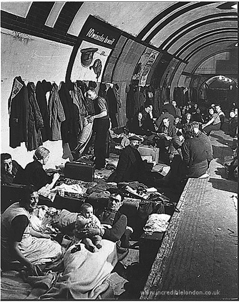 London during the Blitz. Sleeping on platforms of the London Underground was one of the ways citizens stayed safe while bombs fell on London above ground.