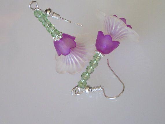 Lucite Flower Dangle Earrings Crystal Flower Earrings