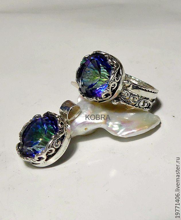 Купить комплект МИСТИК ТОПАЗ - разноцветный, мистик топаз, кольцо ручной работы, кольцо с камнем