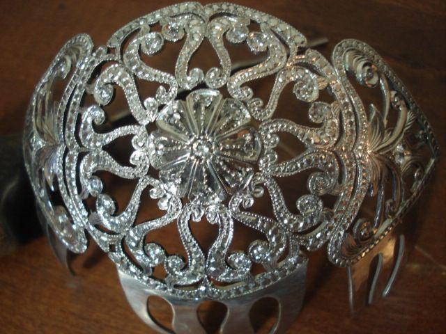 tocado de novia art eco en plta y zircones