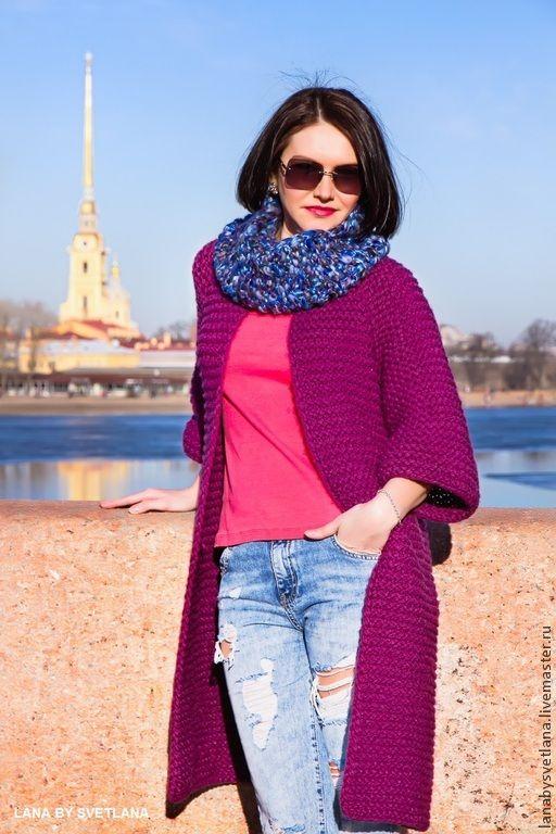 Купить Схема вязания пальто регланом сверху без швов - фиолетовый, вязаное пальто