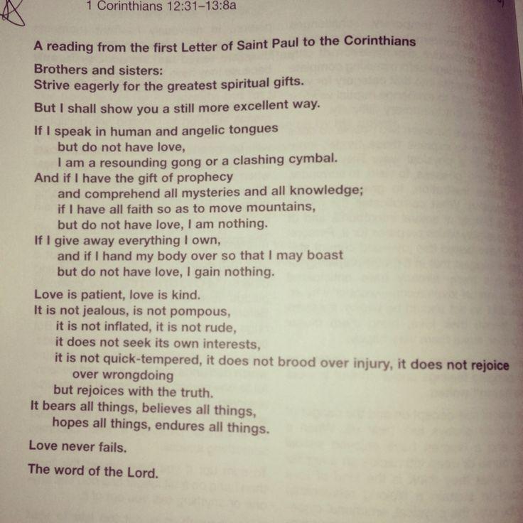 Reading For A Catholic Ceremony