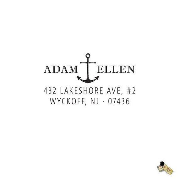 Nautical Address Stamp Self Inking Address Stamp OR Traditional Wooden Rubber Stamp Anchor Return Address Stamp Custom Address Stamp