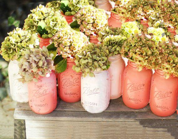 Mason Jars 12 pcs Distressed Salmon Pink & Ballet Pink / Shabby Chic Weddings / Wedding Centerpiece / Wedding Decoration / Quart Size 32oz on Etsy, $110.00