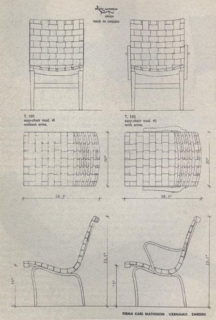 Bruno Mathsson - Eva / Arbetsstol schematics