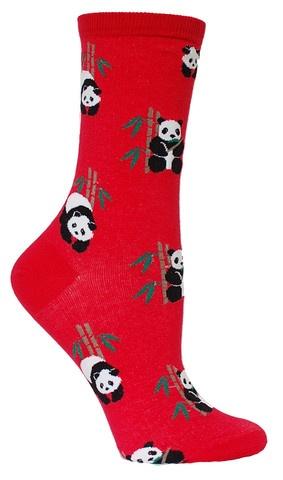 Red crew length socks with sweet, innocent panda bears