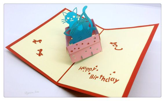 3D Pop Up Happy Birthday Kitten Card by RejoiceArts on Etsy