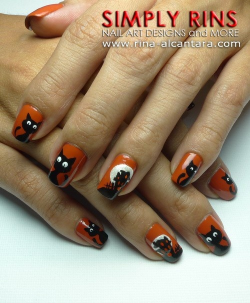 Halloween / Black Cat nail design | Beauty tips | Cat nail ...