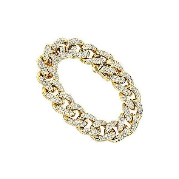 14K Gold Miami Cuban Link Chain Diamond Bracelet for Men 11.05ct ($3,365) ❤ liked on Polyvore featuring men's fashion, men's jewelry, men's bracelets, mens watches jewelry, mens gold diamond bracelets, mens yellow gold diamond bracelets, mens 14k gold bracelets and mens gold bracelets