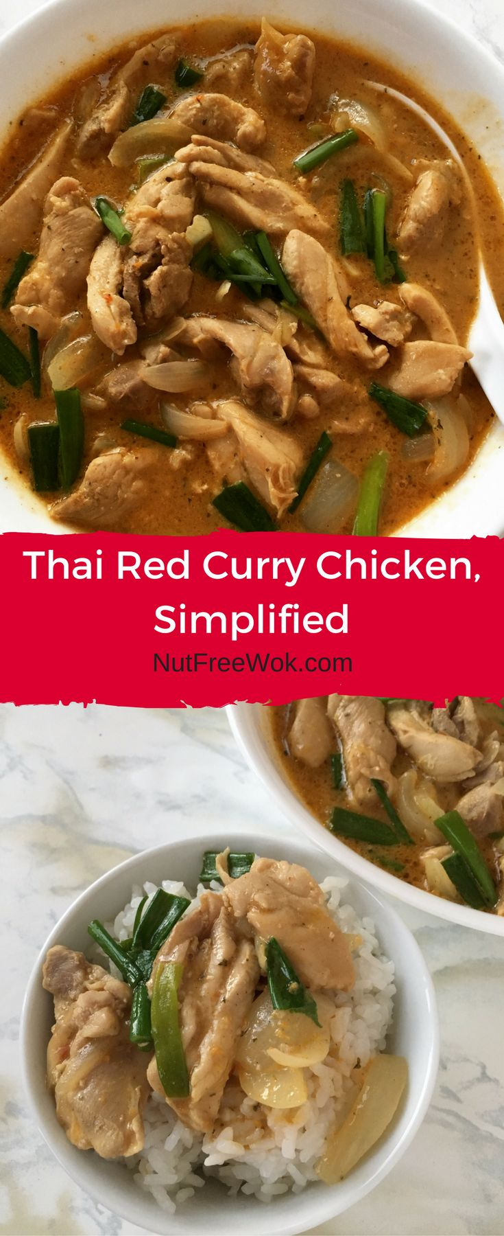 I made Thai Red Curry Chicken at home with an easy to use sauce mix. It was a simple and satisfying meal for a busy weeknight dinner. #nutfree #thaifood #asianfood #dinner #curry #chicken #foodallergy