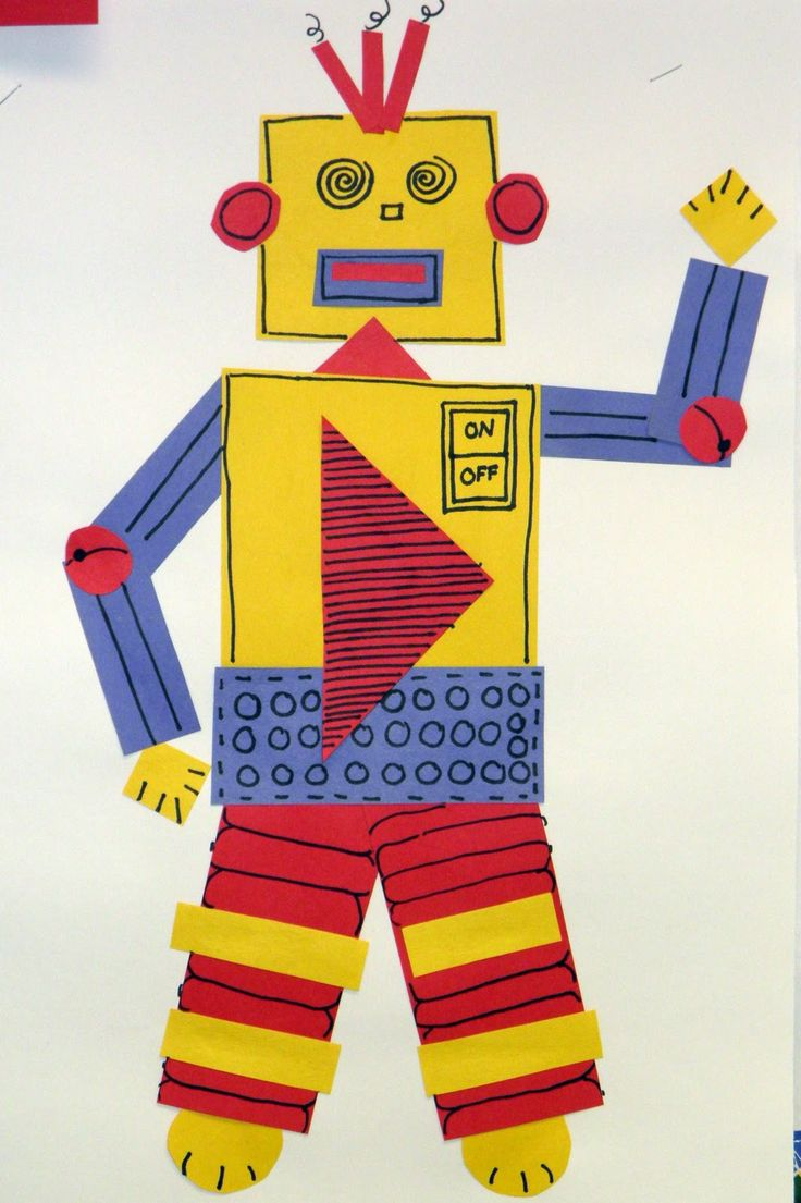 First Grade class assembled robots using geometric shapes. We discussed and used primary colors....