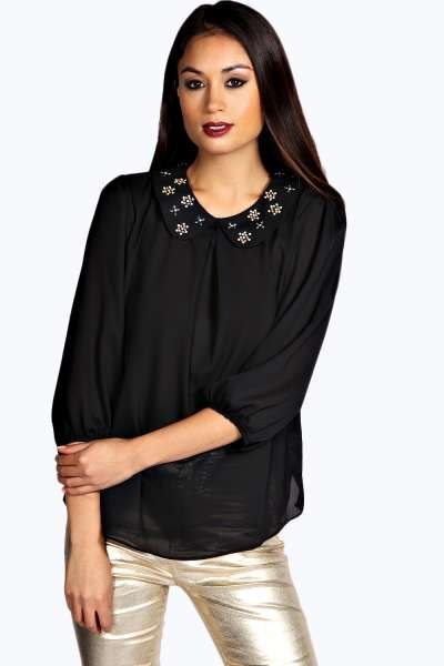 Lara Embellished Collar Blouse at boohoo.com