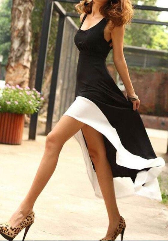 Black-White Patchwork Irregular Scoop Neck Synthetic Fiber Dress