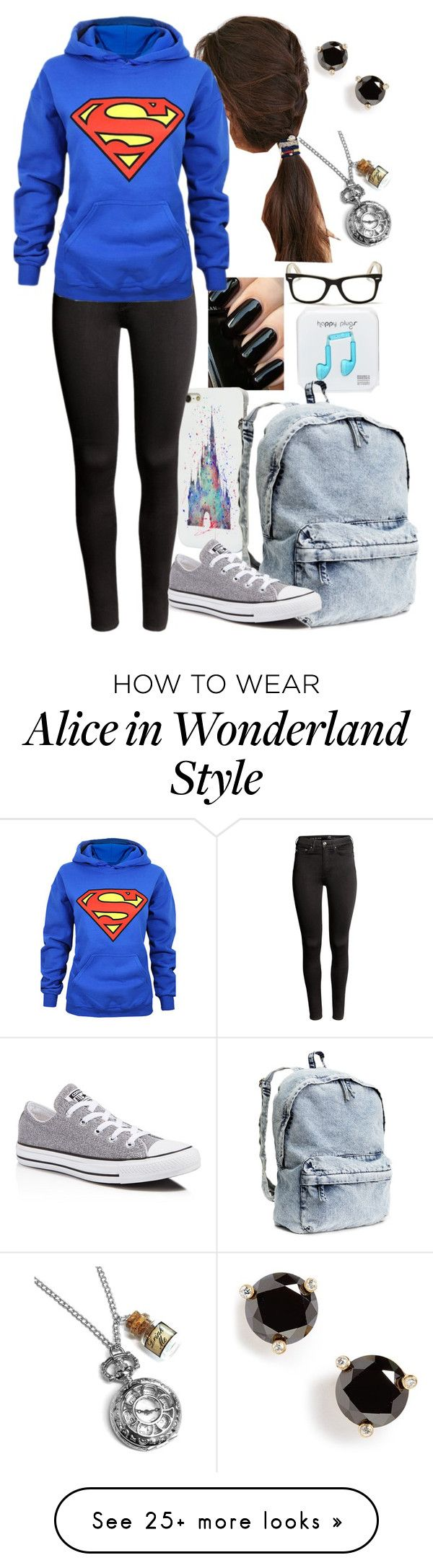 """""""Superman"""" by stepupdancer on Polyvore featuring moda, Happy Plugs, Kate Spade, Disney, JEM, H&M, Converse y Ray-Ban"""