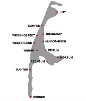 Für alle denen Google Maps zu nervig ist... Sylt - Die Inselorte im Überblick