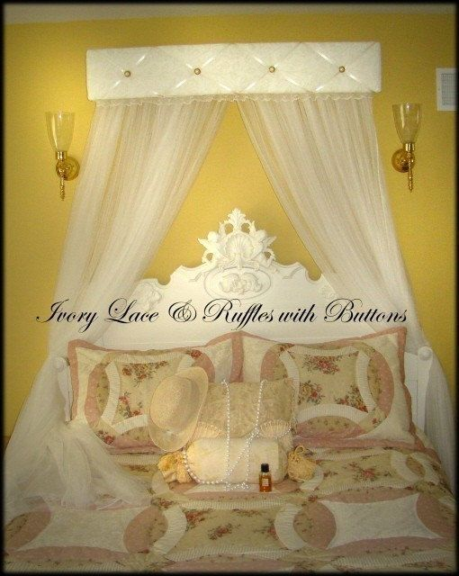 Day Bed Queen King Canopy Crown 40  Shabby Chic Vintage Antique Valance SaLe Ivory Lace & 98 best Bed Canopy Ideas images on Pinterest | Bedrooms Bedroom ...