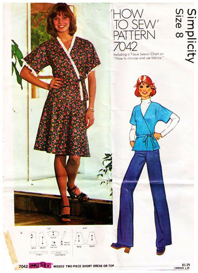 594cb1eb32b1f Vintage 1975 Misses' WRAP DRESS or TOP Pattern 7042-s Size 12 - UNCUT