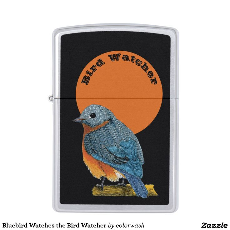 Bluebird Watches the Bird Watcher Zippo Lighter - Who's watching? The bird or the bird watcher? It's just the right gift for the person who loves going out into the field to watch the birds that are watching back. #Zippo #birdwatching #bluebird