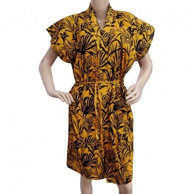 Yellow Robes 100% Cotton Women Night Dress Sleepwear Women Casual Gown Size M