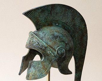 Bronze Greek Helmet, Ancient Corinthian Helmet, Long Crest Helmet, Bronze Metal Sculpture, Ancient Greece Military Helmet, Collectible Art