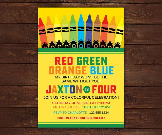 Crayon Box Invitation Crayon Birthday Party by LittleBeesGraphics