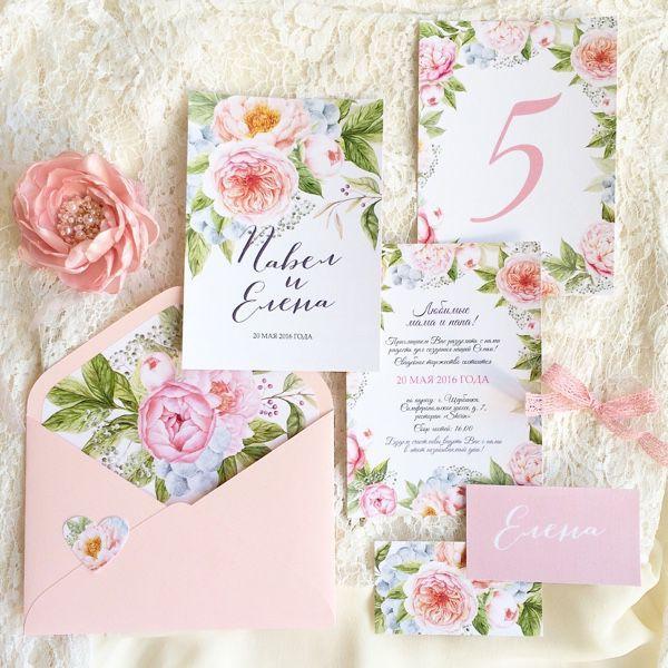 """Купить Акварельные цветочные свадебные приглашения """"Пионовый сад"""" - бледно-розовый, приглашение пионы"""