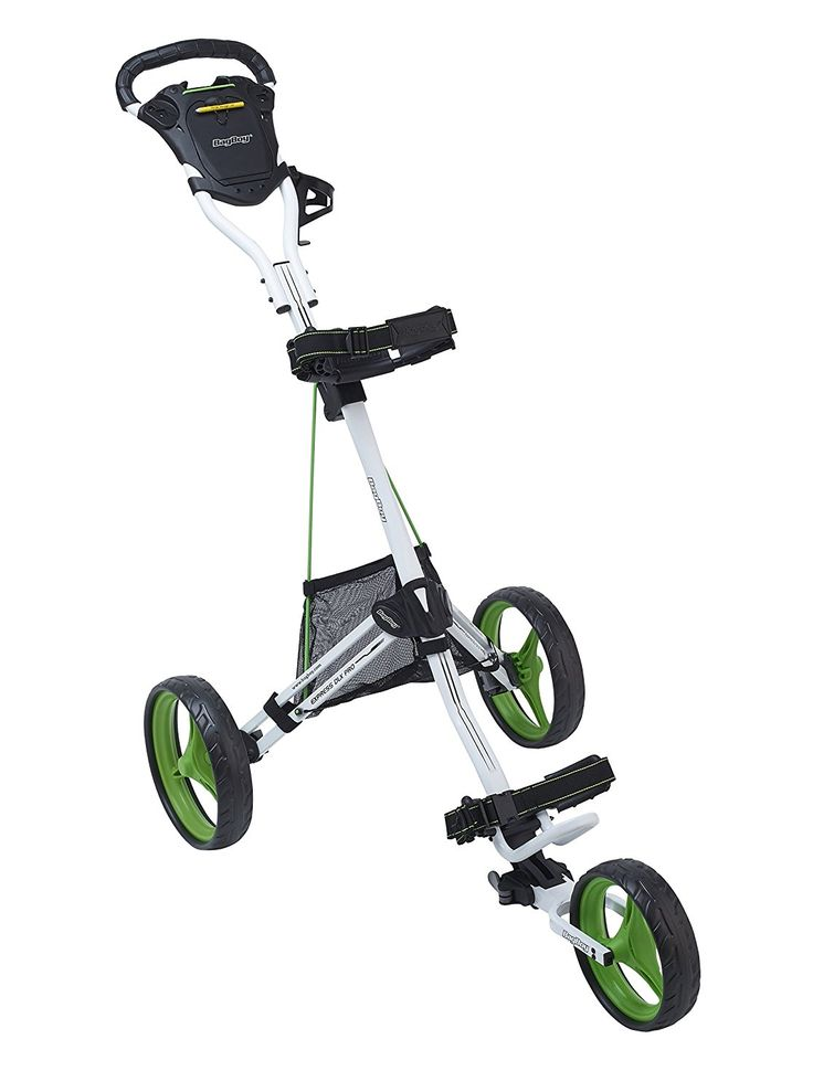 Unique fold under front wheel two-step system on this high quality express DLX pro golf push cart by Bag Boy allows you to quickly fold it into a compact shape for easy storage!