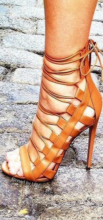 leather high heel strap up sandals