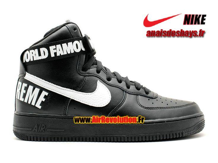 Boutique Officiel Nike X Supreme Air Force 1 High GS Femme/Enfant Noir/Blanc 698696-010G