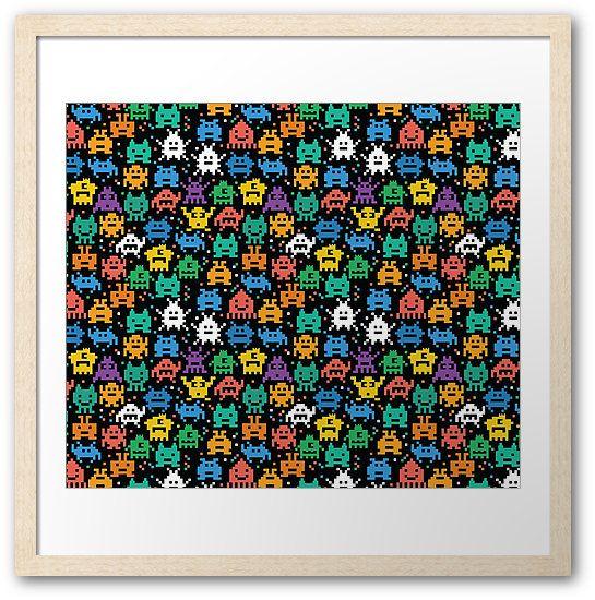 Pixelated Emoji Monster Pattern Illustration by Gordon White | Emoji Monster Natural Framed Print Available in Large @redbubble --------------------------- #redbubble #emoji #emoticon #smiley #faces #cute #addorable #pattern #frame #print #framedprint #wallart
