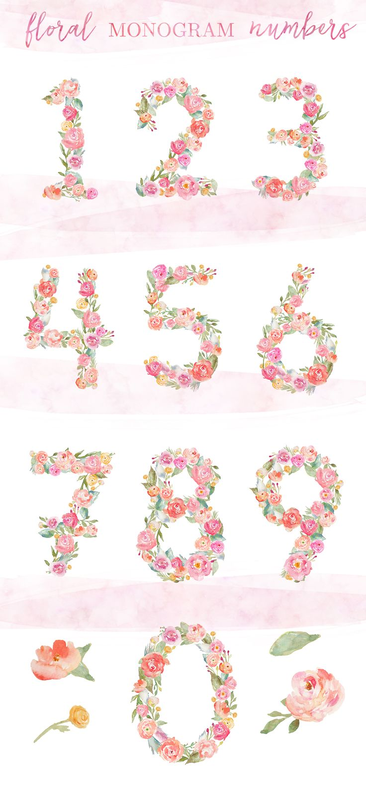 Watercolor Flower Numbers Watercolor Clip Art   angiemakes.com