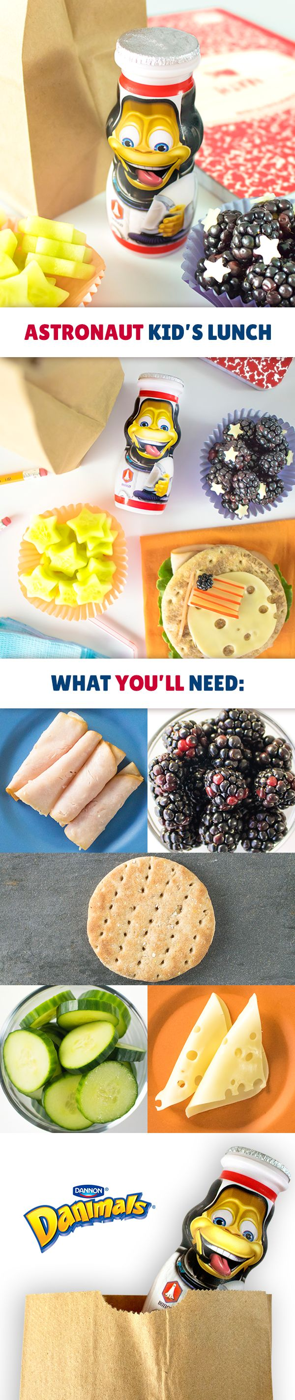 Transform a boring turkey and Swiss cheese sandwich into an out-of-this-world kid's lunch. Cut turkey and cheese into circles and layer on a whole wheat pita. Using a knife or a cookie cutter, make stars out of cucumbers and cheese slices and add to blackberries. Create a moon landing flag with cheese, red pepper or apple strips and blackberries. Don't forget to add an Astronaut Adventure Series Danimals® Yogurt Smoothie to complete this unique, healthy lunch idea.