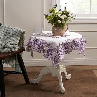 Purple Leaves Embroidery Home Decor Table cloth – USD $ 11.99