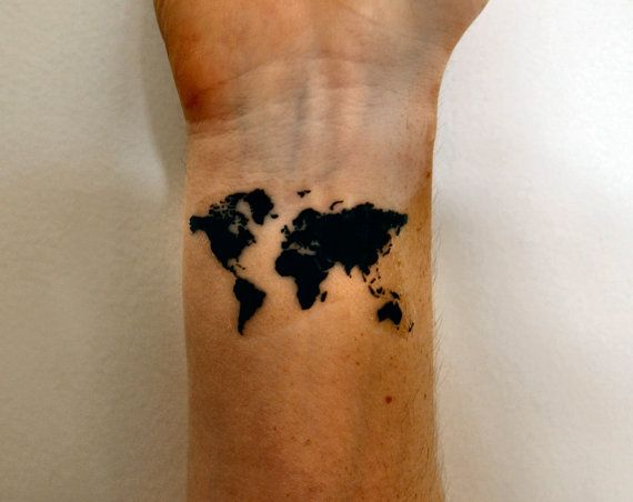 World Map Temporary Tattoo Map of the World by temporarytattooyou
