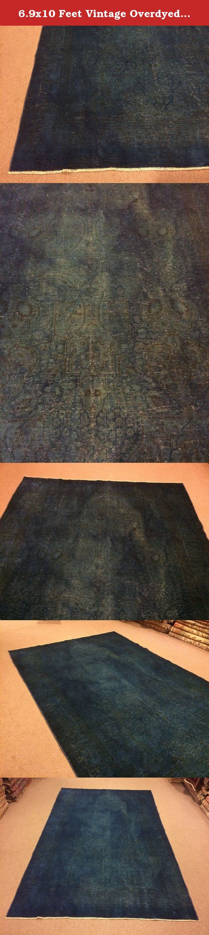 6.9x10 Feet Vintage Overdyed Dark Blue Carpet Dark Blue Rug Vintage Rug Vintage Carpet Code:B484. It is %100 handmade carpet.All colours are natural dyed. Size:6.9x10 feet 204x304 cm Material:wool on cotton Vintage Overyed Rugs which are dying of old handmade rugs are a new trend in the world. Old handmade rugs are collected. They are put into a wooden spinner to get rid of dusts on the rugs. After this process, the rugs get shaved carefully. Then, they get washed with carpet washing...