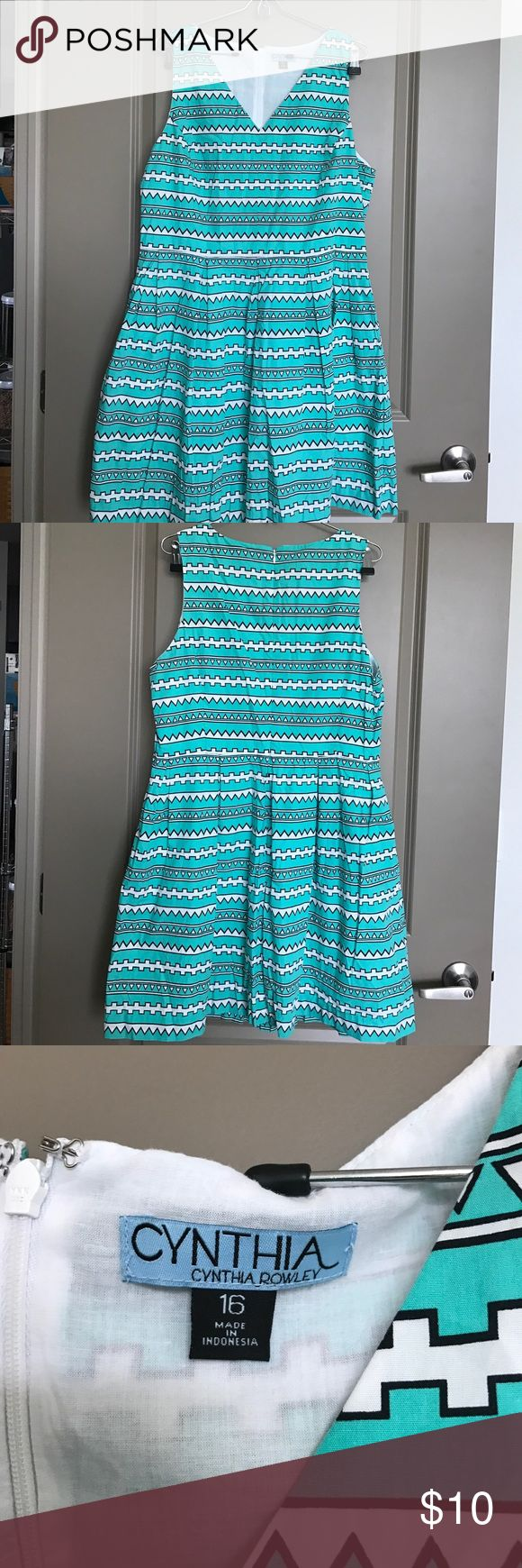 Turquoise Aztec Print Dress EUC A-line turquoise Aztec print dress.  Very comfortable. Has pockets. Machine washable. Only worn a couple of times. Cynthia Rowley Dresses
