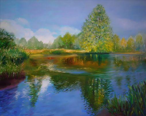 Malarstwo pejzażowe, obraz olejny, Woda
