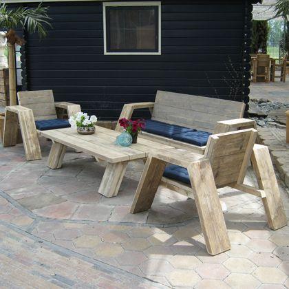 Steigerhout loungeset 'Jutter', www.rustikal.nl Laat je inspireren!