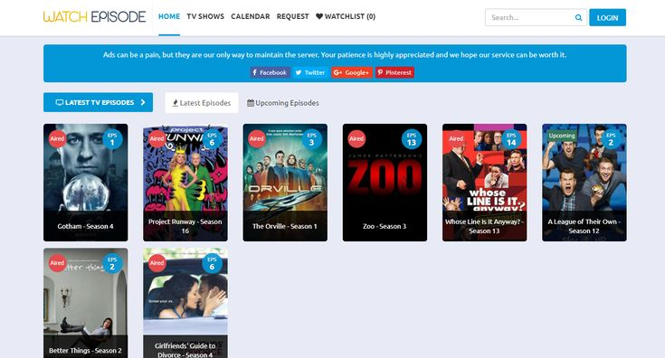 Watch free tv shows and series episodes online free ! Just WatchEpisode.org !